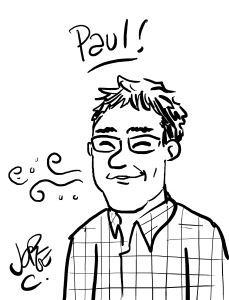 A caricature drawn by Jorge Cham from PHD Comics of Paul Spencer