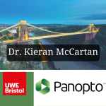A combined picture with the UWE logo, Panopto logo and an image of the Clifton suspension bridge