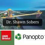 Combined picture with UWE logo, Panopto logo and an image of the Clifton suspension bridge overlaid with Dr Shawn Sobers
