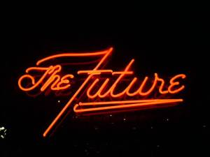 A neon sign spelling out the words The Future